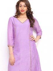 Cotton Plain Purple Party Wear Kurti