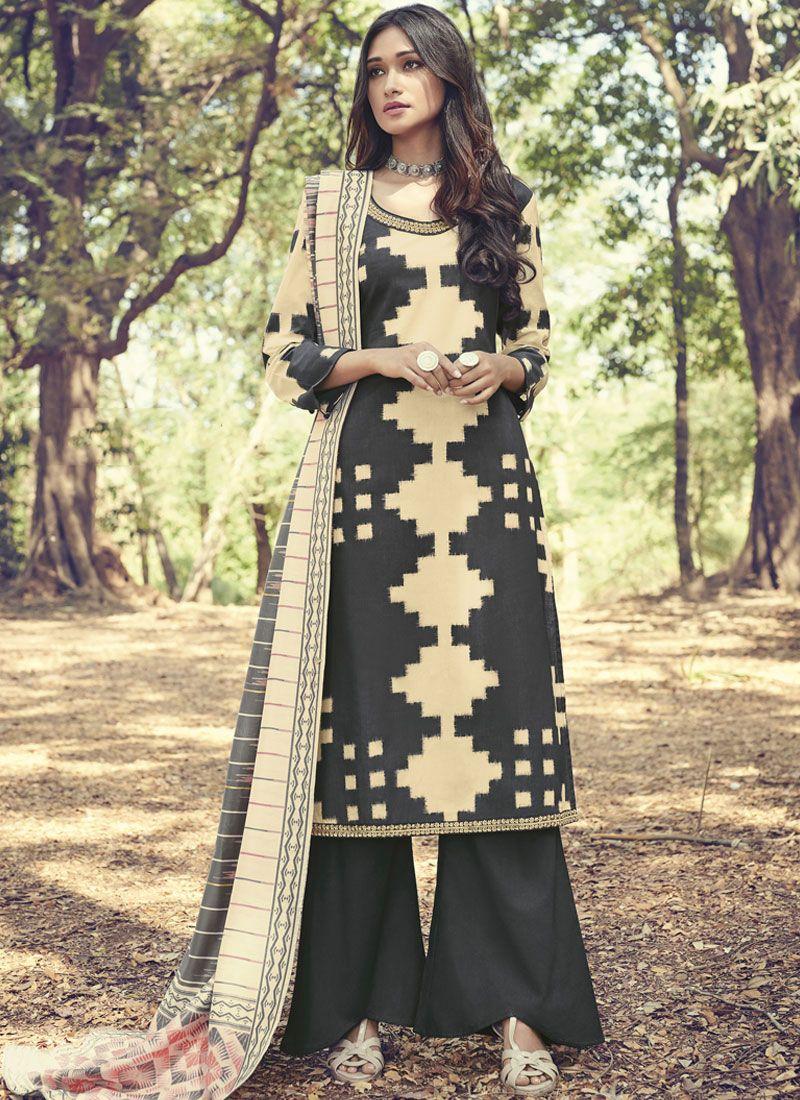 Cotton Print Black Designer Suit