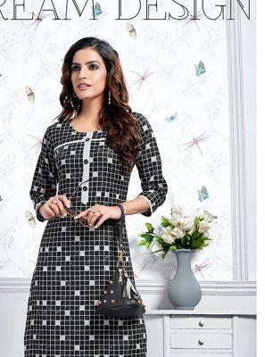 Cotton Print Black Party Wear Kurti