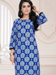 Cotton Print Blue Casual Kurti
