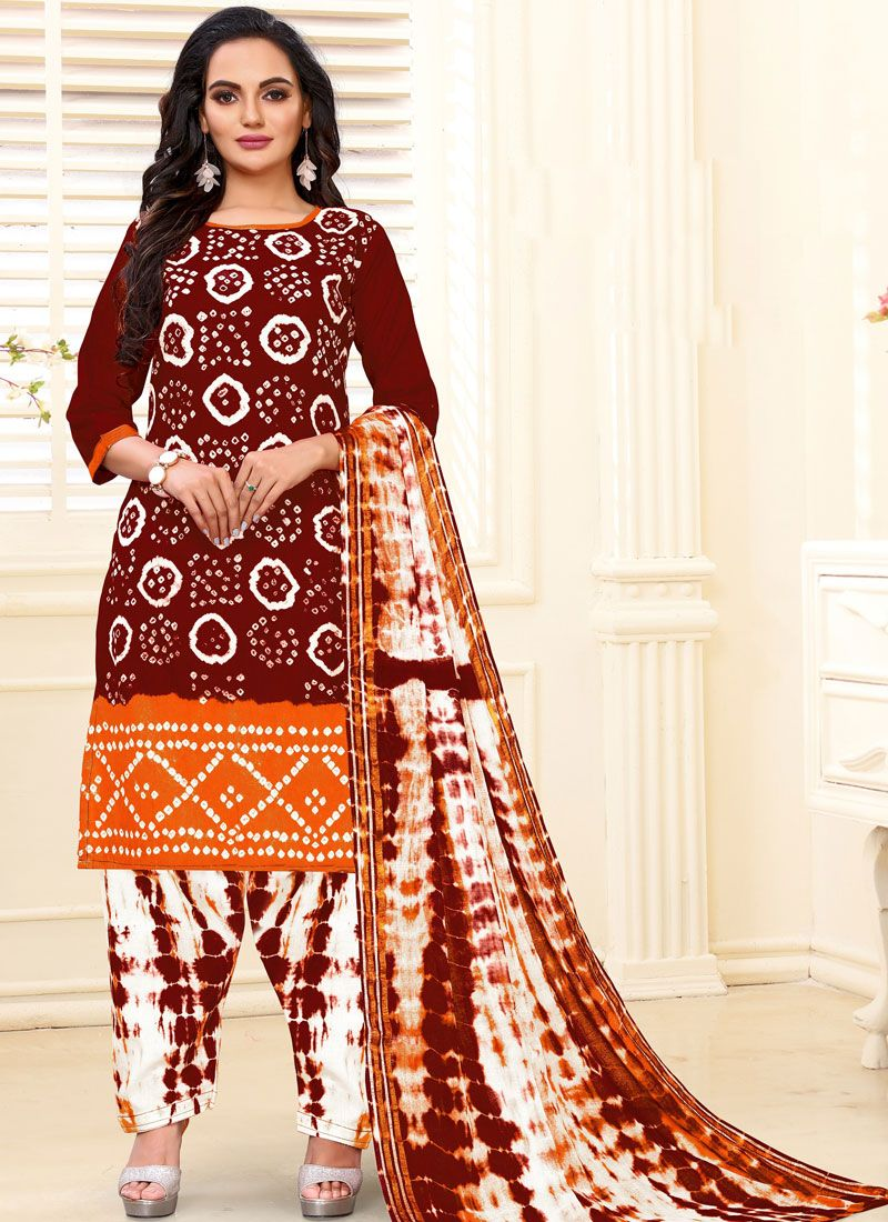 Cotton Print Maroon Readymade Suit
