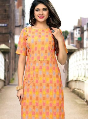 Cotton Print Multi Colour Party Wear Kurti
