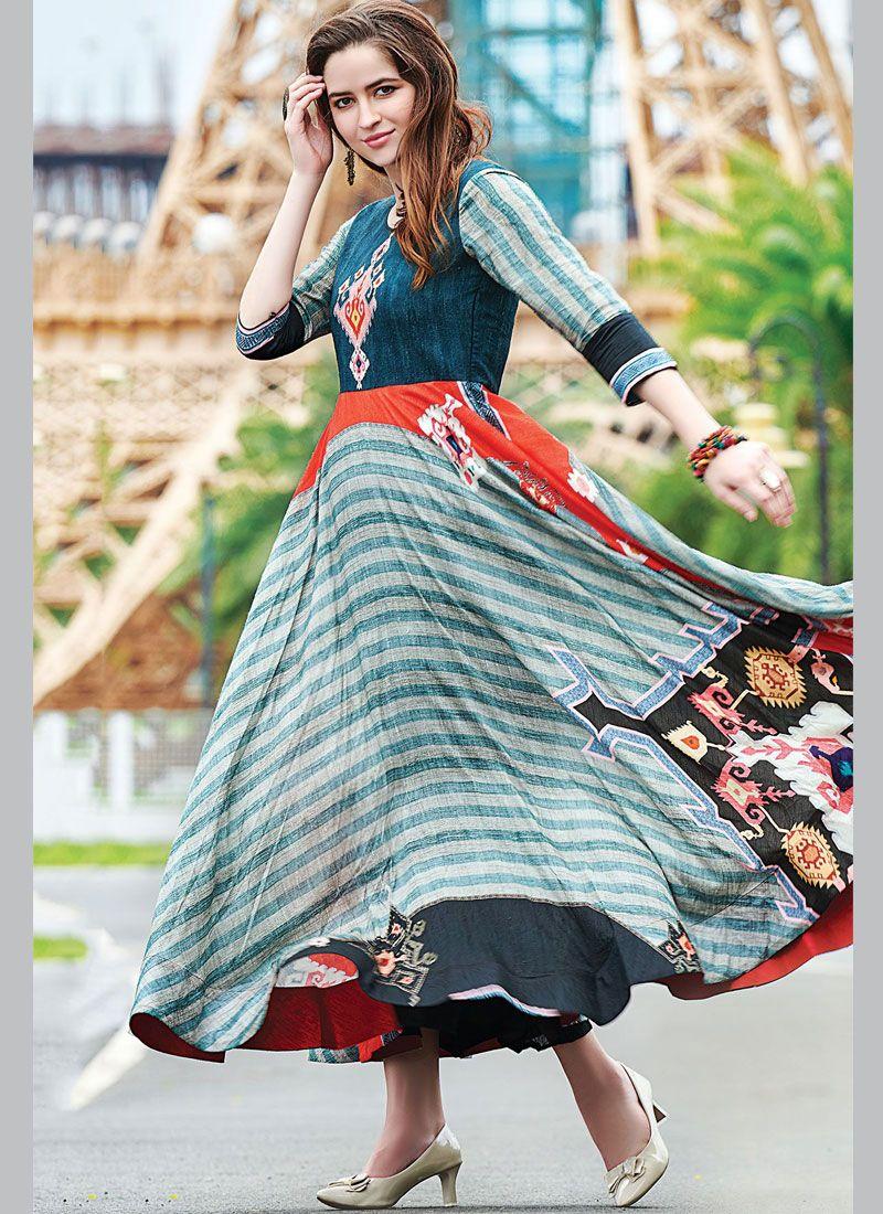 Cotton   Print Multi Colour Readymade Gown