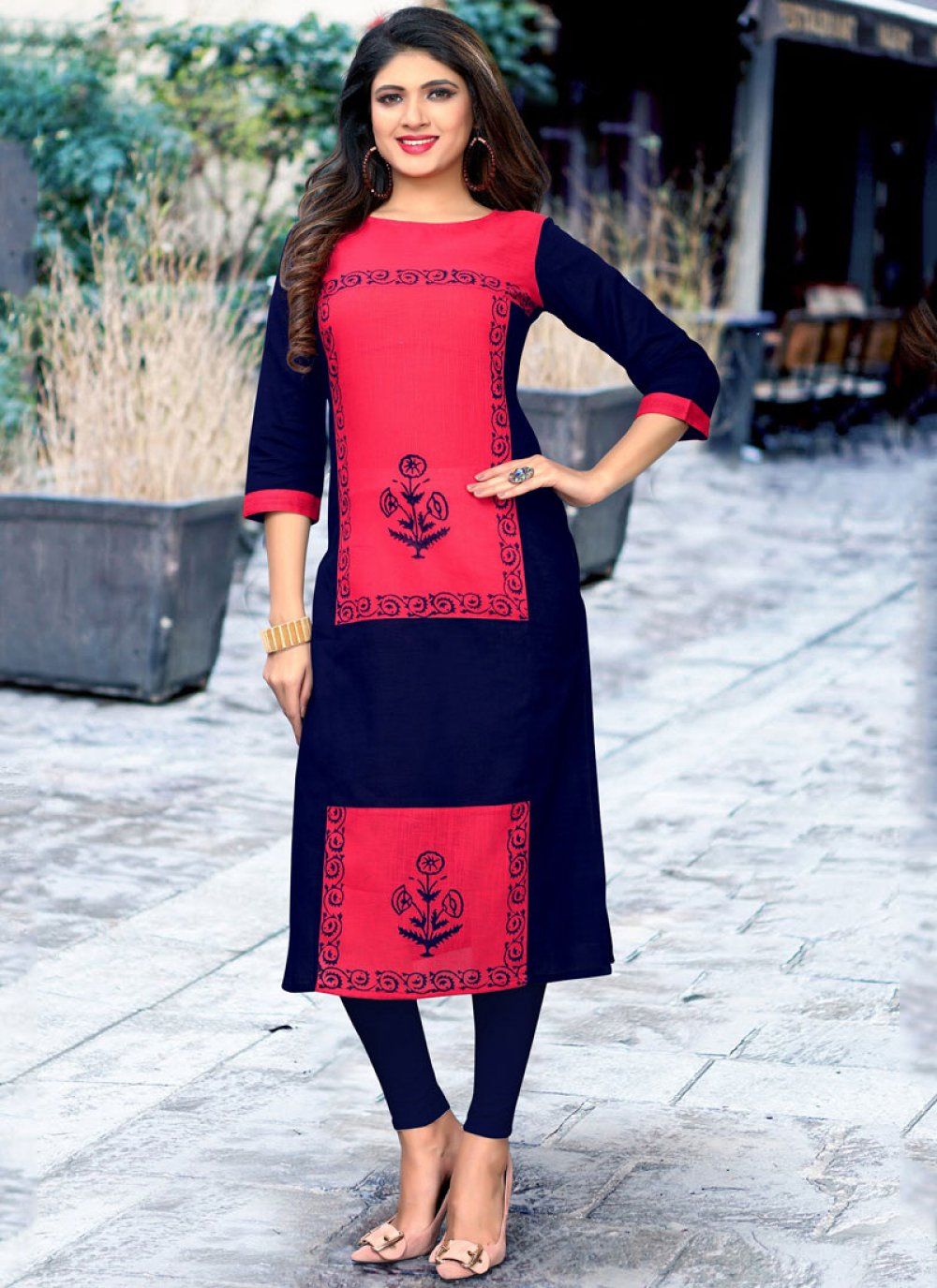Cotton Print Navy Blue and Pink Party Wear Kurti