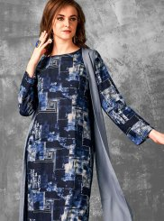 Cotton Print Navy Blue Party Wear Kurti