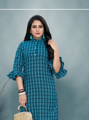 Cotton Print Party Wear Kurti in Blue