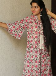 Cotton Print Party Wear Kurti in Multi Colour