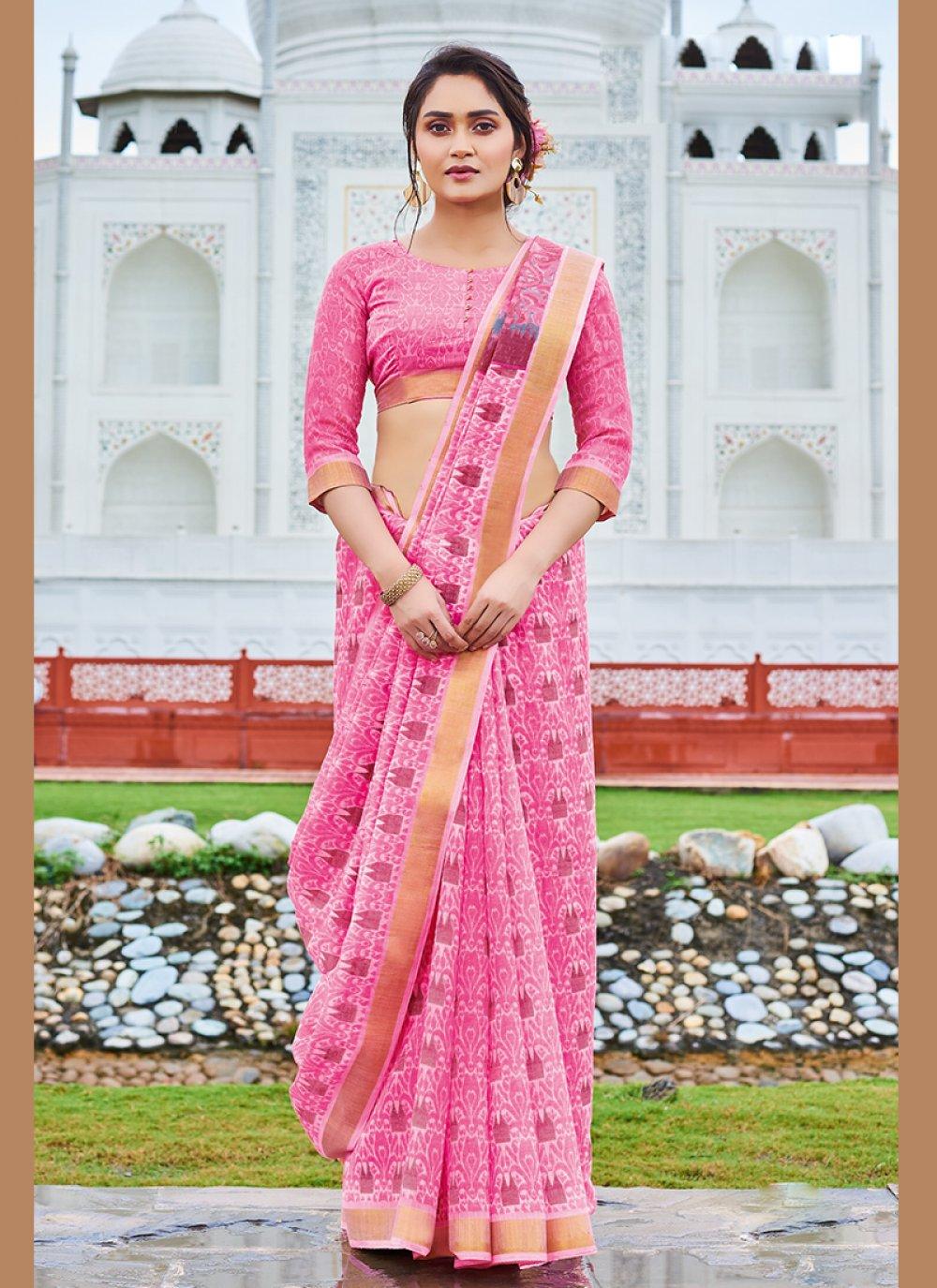 Cotton Print Pink Printed Saree