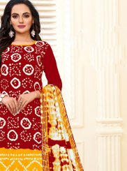 Cotton Print Readymade Suit in Red