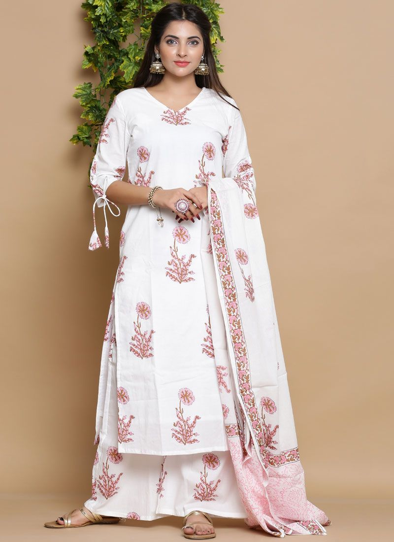 Cotton Print Readymade Suit in White