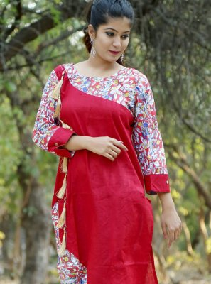 Cotton Print Red Casual Kurti