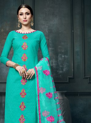 Cotton Print Sea Green Designer Straight Suit