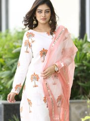 Cotton Print White Readymade Suit