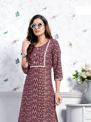 Cotton Print Wine Party Wear Kurti