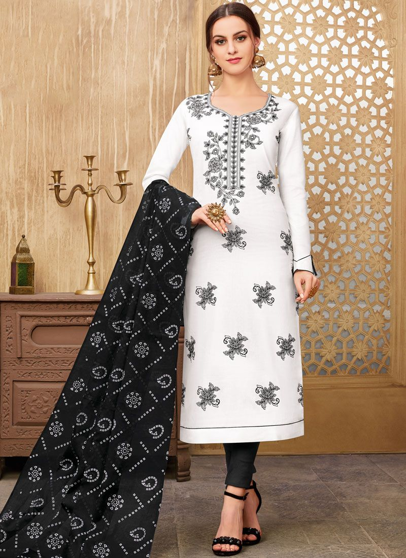 Cotton Printed Black and White Pant Style Suit