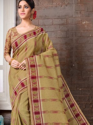 Cotton Printed Casual Saree in Brown