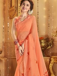 Cotton Printed Casual Saree in Orange