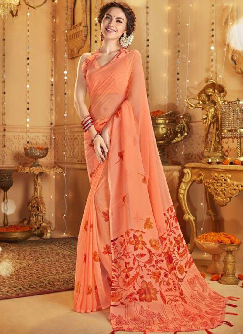 Cotton Printed Casual Saree in Orange