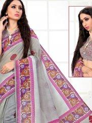 Cotton Printed Grey Printed Saree