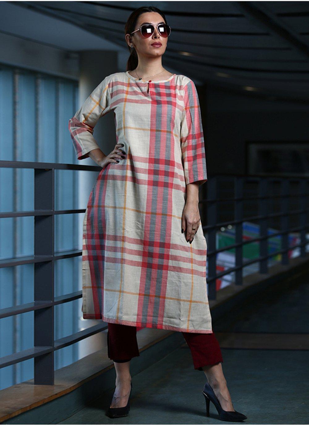 Cotton Printed Party Wear Kurti in Multi Colour