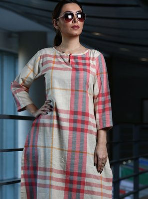 Cotton Printed Party Wear Kurti in Multi Colour
