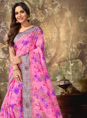 Cotton Printed Pink Classic Designer Saree