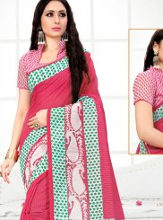 Cotton Printed Printed Saree in Pink