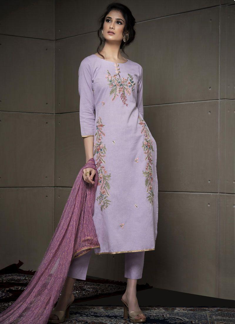 Cotton Purple Pant Style Suit