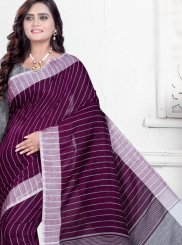 Cotton Purple Printed Saree
