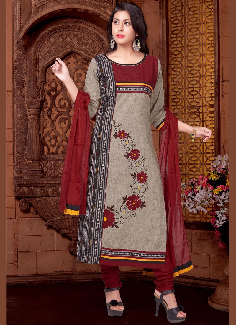 Cotton   Readymade Suit in Maroon