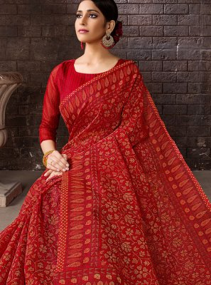 Cotton Red Casual Saree