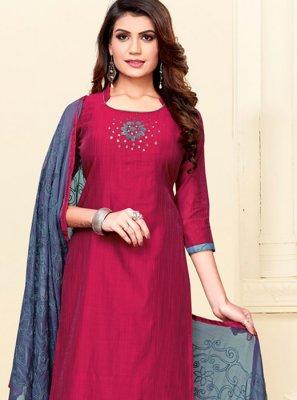 Cotton Red Churidar Designer Suit