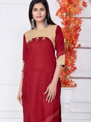 Cotton Red Fancy Casual Kurti