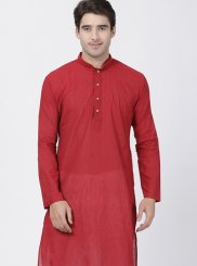Cotton Red Plain Kurta Pyjama