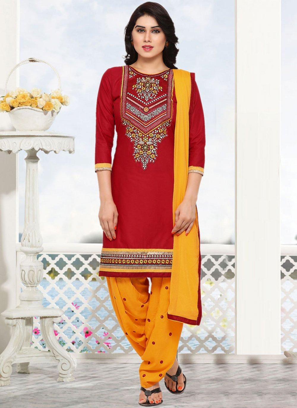 Cotton Red Punjabi Suit