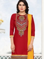 Cotton Red Punjabi Suit