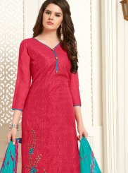 Cotton Rose Pink Embroidered Churidar Designer Suit