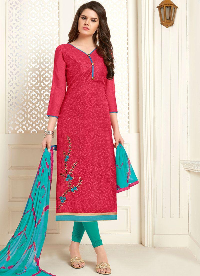 Cotton Rose Pink Embroidered Churidar Designer Suit