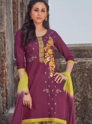 Cotton Salwar Kameez in Wine