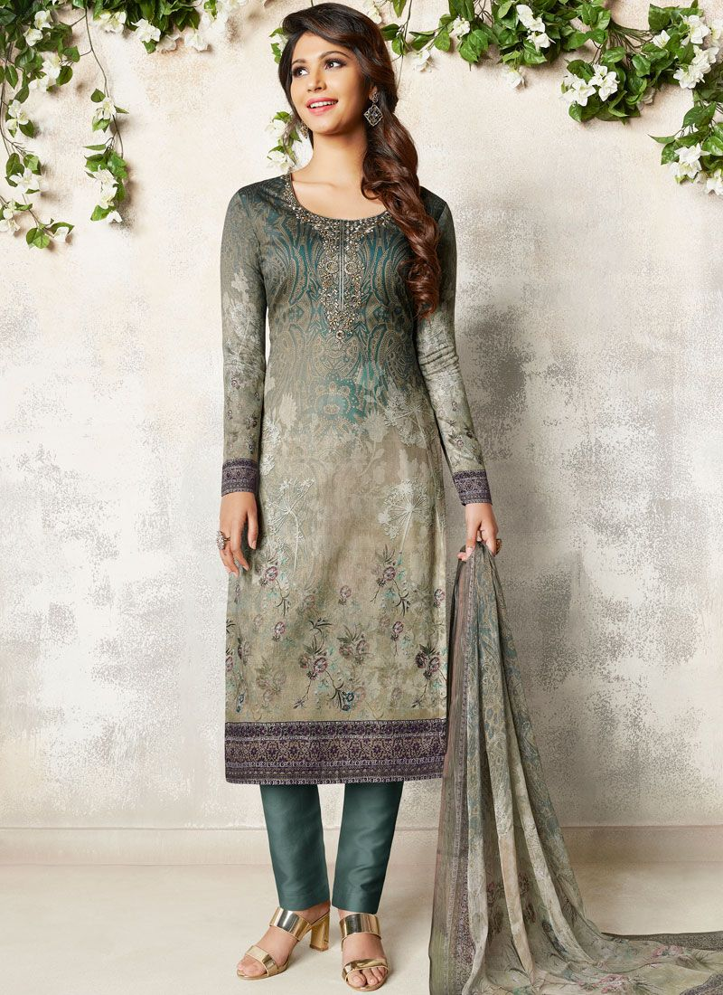 Cotton Satin Abstract Print Grey Churidar Designer Suit