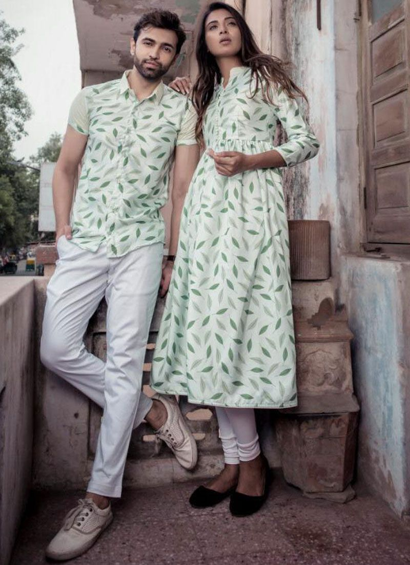 Cotton Satin Abstract Print Party Wear Kurti in White