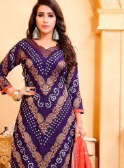 Cotton Satin Bandhej Blue Salwar Suit