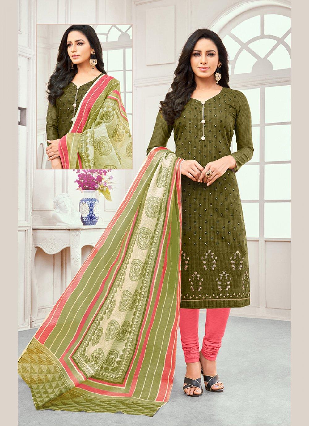Cotton Satin Embroidered Green Designer Salwar Kameez