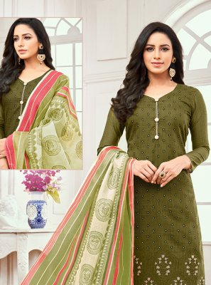 Cotton Satin Embroidered Green Designer Salwar Kameez