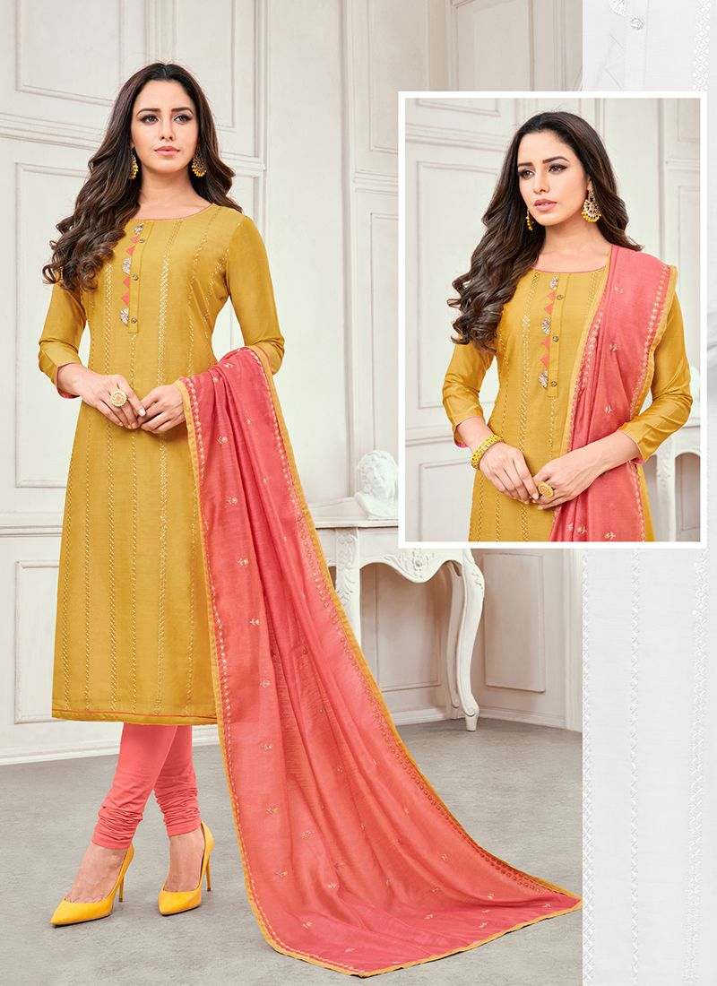 Cotton Satin Embroidered Mustard Salwar Kameez