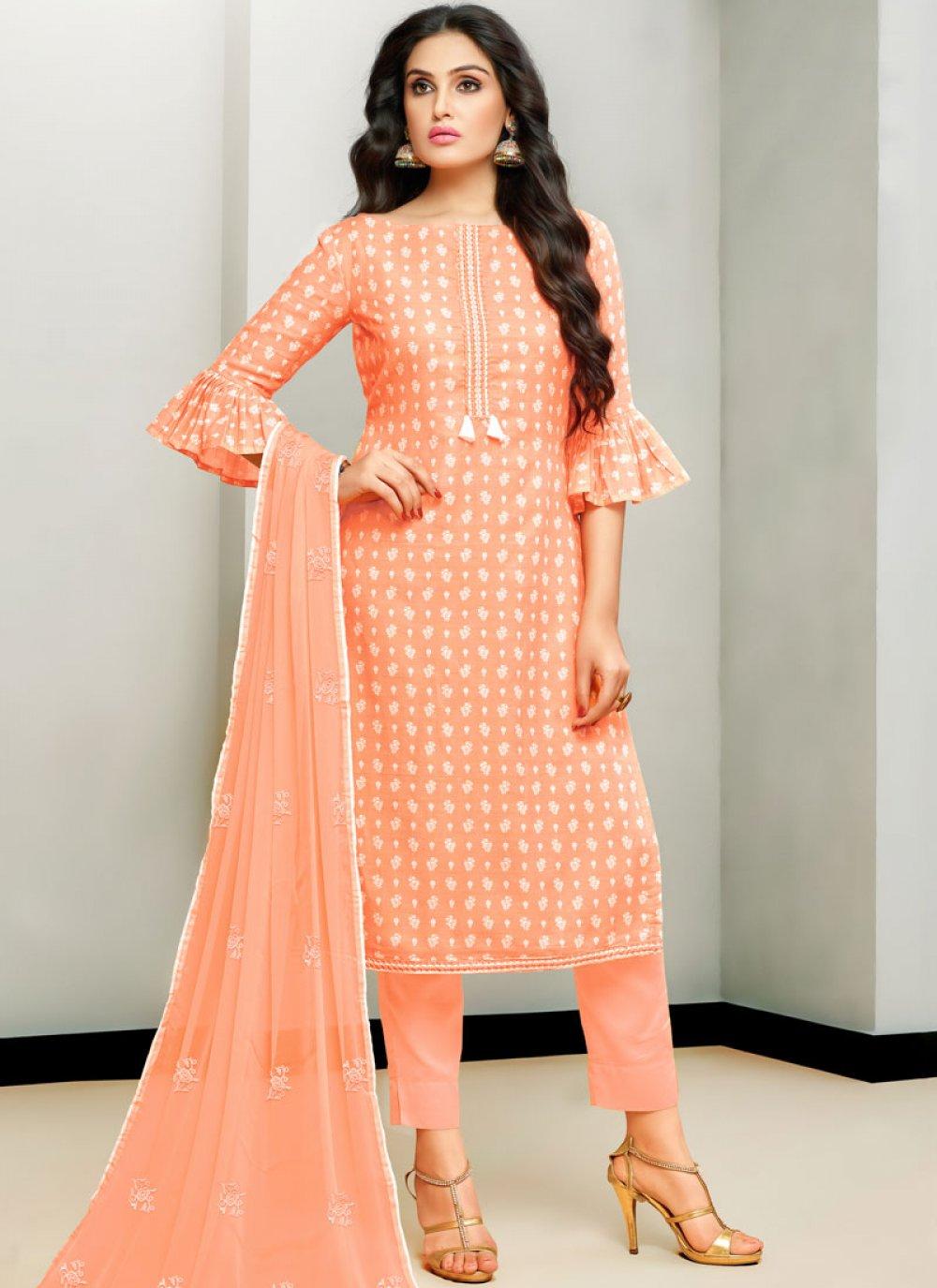Cotton Satin Embroidered Peach Designer Pakistani Suit