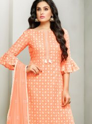 Cotton Satin Embroidered Peach Designer Pakistani Suit