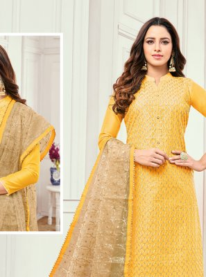 Cotton Satin Embroidered Yellow Salwar Kameez
