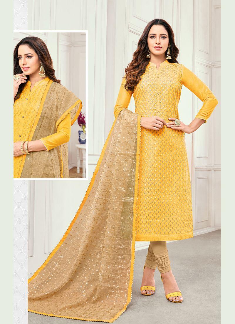 Cotton Satin Embroidered Yellow Salwar Kameez