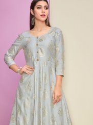 Cotton Satin Foil print Grey Casual Kurti